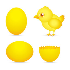 easter day, golden chicken baby cartoon character with egg