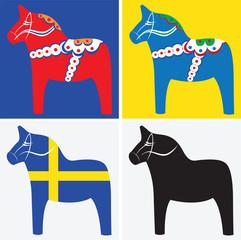 Dala horses, vector