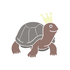 Brown turtle cartoon with crown - Vector