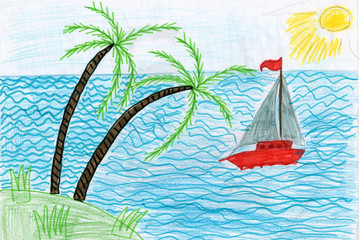 Cildren's drawing yacht in a sea