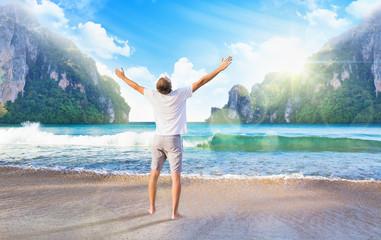 Man enjoys sea view