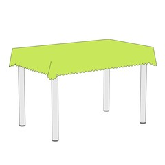 cartoon illustration of table with tablecloth