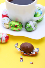 Chocolate Easter eggs and coffee