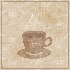 beautiful old paper with coffee cup