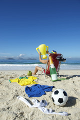 Champion Brazilian Football Player Celebrating in Beach Chair