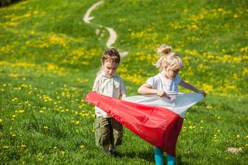 children with Polish flag
