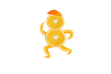 Healthy eating. Funny running little man made of the orange slic