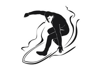 Vector silhouette surfer
