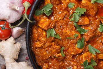 delicious curry chicken fillet top view macro
