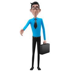 3d happy office man in suit, isolated