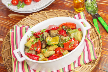 Grilled vegetables. Grilled vegetables with rosemary and thyme