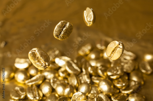 Golden Cafe Coffee Beans Stock Photo And Royalty Free