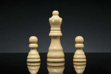 Queen and pawns