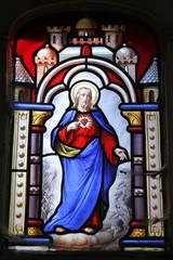 Sacré Coeur, glas in lood raam op begraafplaats Passy in Parijs
