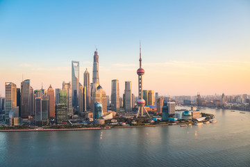 Aluminium Prints Shanghai shanghai pudong at dusk