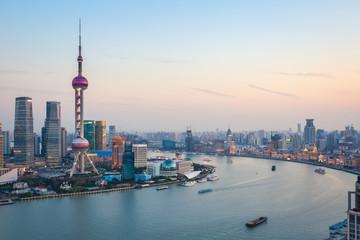 Aluminium Prints Shanghai beautiful shanghai at dusk