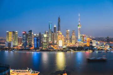 Aluminium Prints Shanghai beautiful night in shanghai