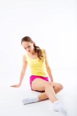 legs slender fitness girl - isolated on white background