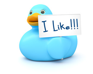 Blue Ducky with I like sign