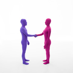 faceless people shake hands