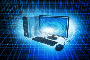 Digital illustration Realistic Desktop Computer