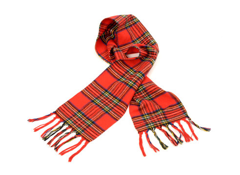 Tartan winter scarf with fringe.Red plaid scarf isolated white.