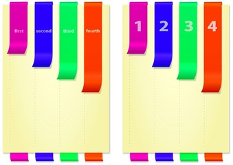 Papers with bright colored, numbered, folded bookmarks, vertical