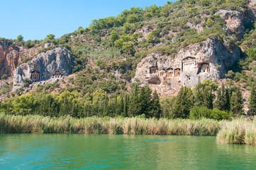 Turkish  Lycian tombs on the Dalyan River