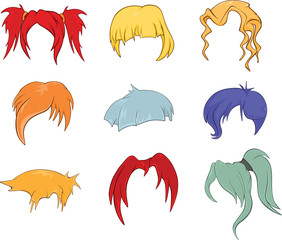 Garden Poster Baby room A set of hairstyles, wigs for illustrations