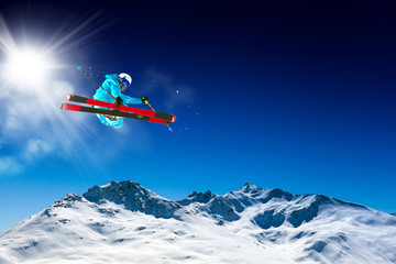 Wall Mural - ski in blue sky