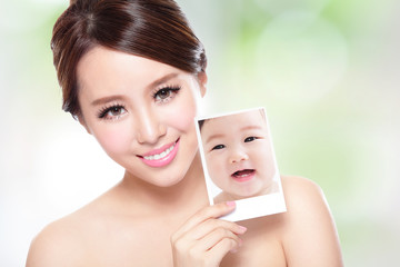 beauty woman with perfect skin like baby