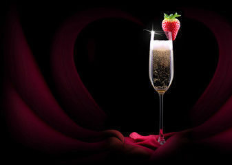 champagne glass and red silk