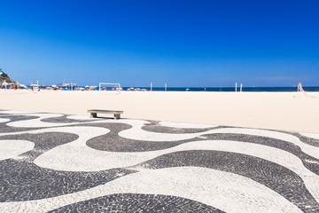 Copacabana with mosaic of sidewalk in Rio de Janeiro
