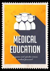 Medical Education on Yellow in Flat Design.