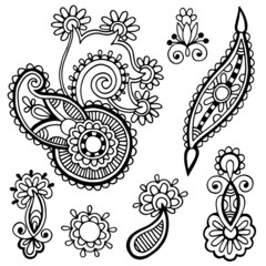 black line art ornate flower design collection,