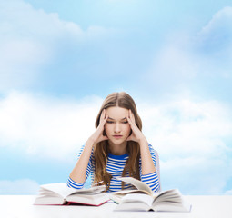 stressed student girl with books