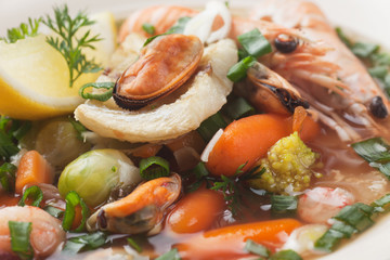 Seafood and vegetable soup