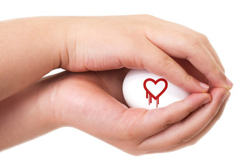 Heartbleed exploit concept with two hands handling an egg