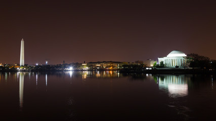 Washington DC landmarks at night with reflections