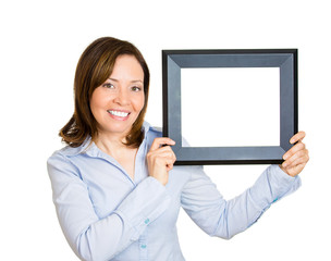 Frame advertising. Woman with picture frame on white background