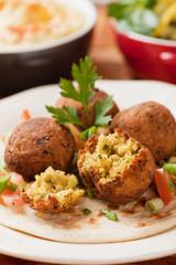 Falafel, deep fried chickpea balls on pita bread
