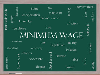 Minimum Wage Word Cloud Concept on a Blackboard
