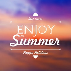 Enjoy Summer Holidays text over defocused sunset background vect
