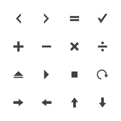 Black and White collection calculator and computer icons