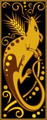 stylized Chinese horoscope black and gold - rat
