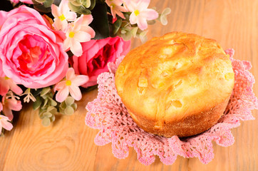 Easter cake and bouquet of flowers