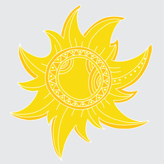 Sun isolated on grey background.Vector art
