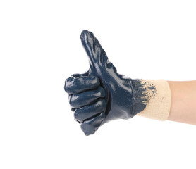 Hand in rubber glove shows thumbs up.