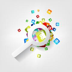 Search icon. Loupe symbol. Application button.