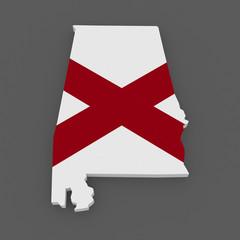 Three-dimensional map of Alabama. USA.
